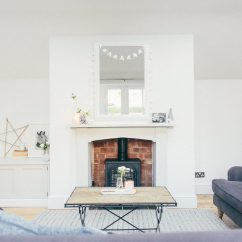 Decorate Living Room With No Fireplace Ideas For Color Walls Creating A Focal Point In Fire Surround Painted Farrow And Ball Cornforth White Layout