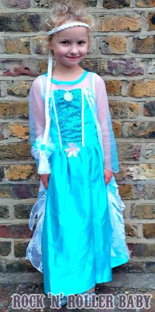 Florence in her Elsa dress bought for her by my Mum from Matalan! It's pretty awesome don't you think and a fraction of the cost of the Disney Store one!