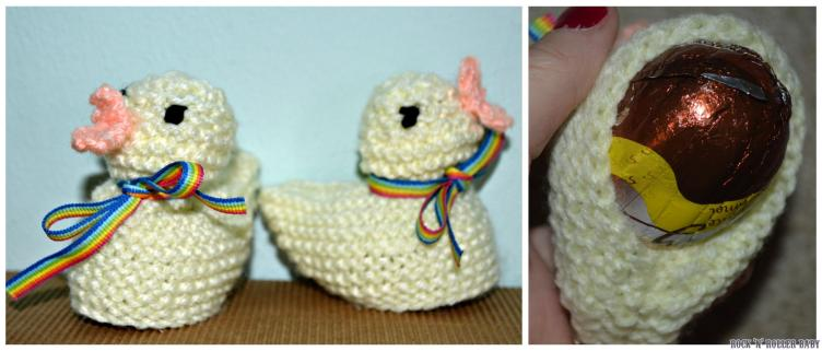 Knitted Easter chicks just the right size to cover a chocolate Cadbury's Creme Egg or something similar!