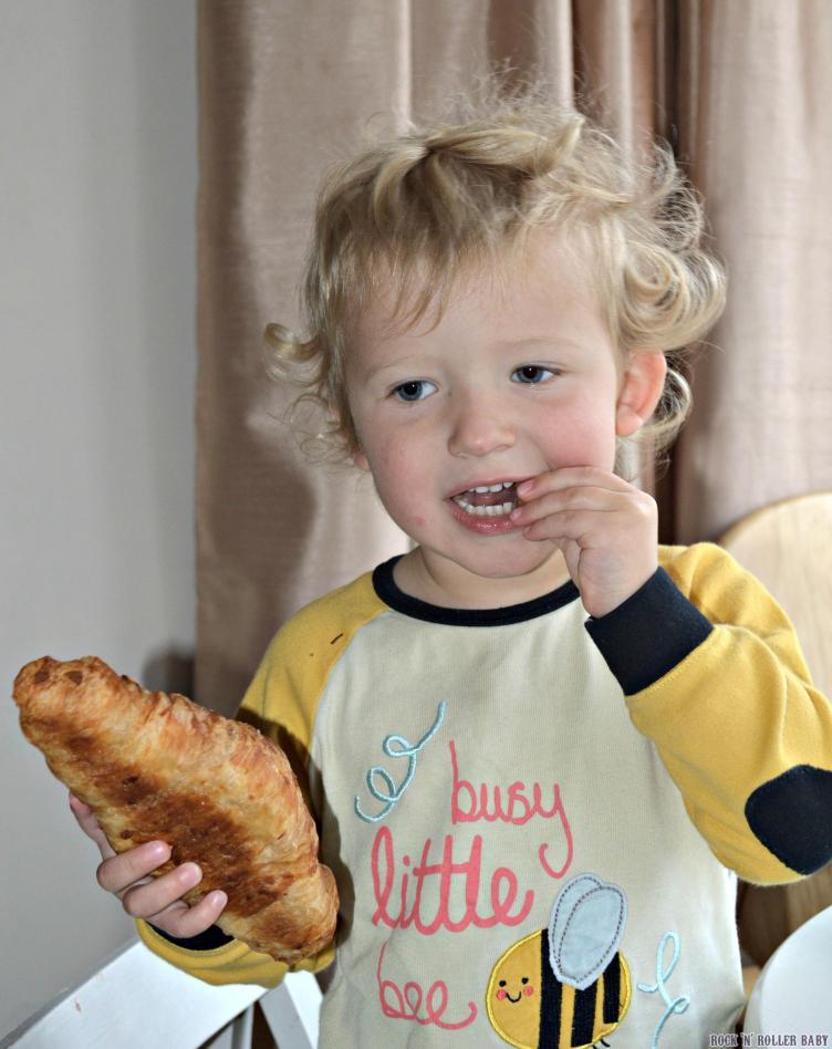 A birthday breakfast of almond croissants!