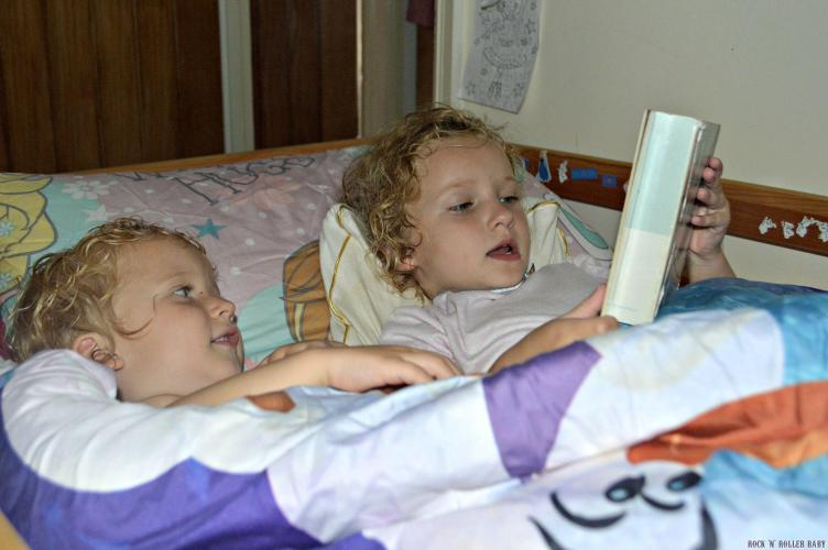 They are really great pals at the moment and the other night when Florence invited Jimmy into her bed for a sleep-over and read hi a bed time story I couldn't resist taking this snap of them!