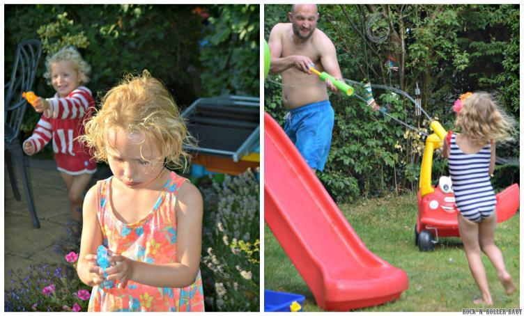 Water blaster fun in the garden!