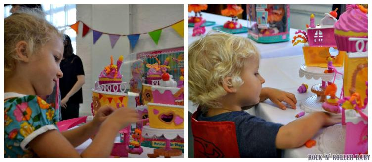 Florence and Jimmy spent a long time checking out the new Lalaloopsy toys at the party!