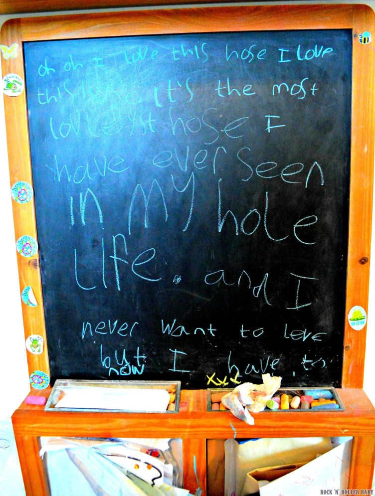 Florence wrote this song (she made up a tune too) on the black board and it broke my heart a tiny bit...