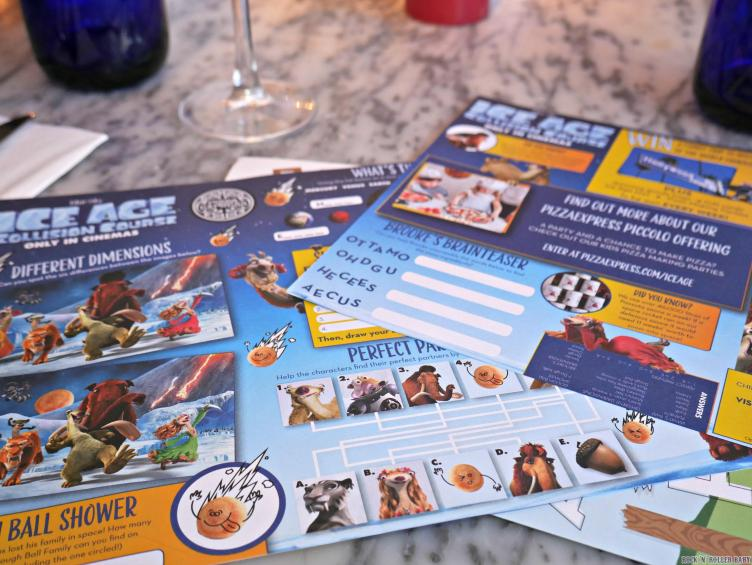 The new Ice Age Collision Course activity packs at Pizza Express!