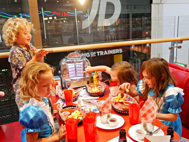 Kids loving their visit to Ed's Diner or, as they renamed it, Egg's Diner - They thought this was HILARE!