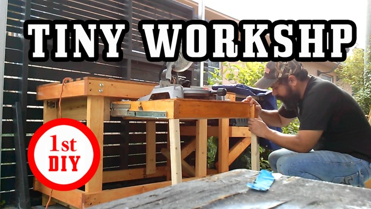 Small workshop and workbench in a tiny outdoor space