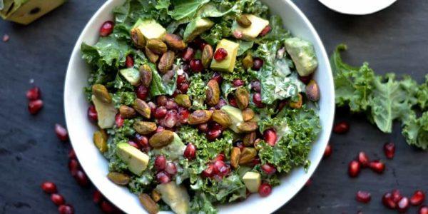 Kale-Avocado-and-Pomegranate-Salad-with-Zesty-Tahini-Dressing-3