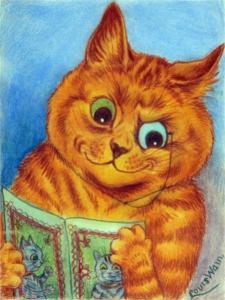 Louis Wain reading cat