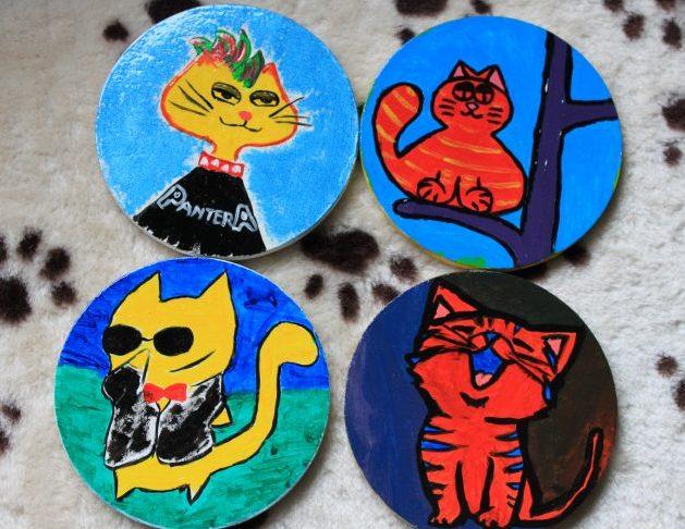 coastere din lemn pictate cu pisici