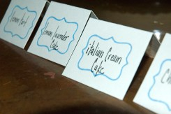 Instead of one cake the bride and groom chose many different desserts so we made small tent labels to help direct guests to their favorites.