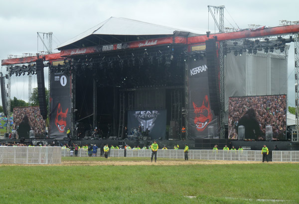 Fear Factory playing to a half empty front of the field at Download 2012