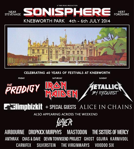 Sonisphere Knebworth 2014 21th January 2014 Poster