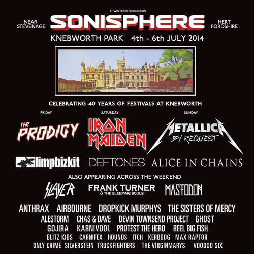 Sonisphere Knebworth 2014 12th February Line Up Poster