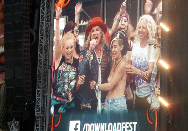 Steel Panther surrounded by Girls on stage at Download Festival 2014