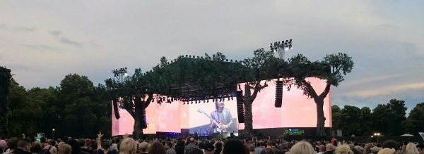 Black Sabbath performing at the British Summer Time festival in Hyde Park with Tony Iommi on the big screens.