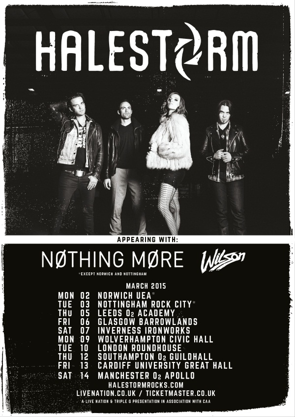 Halestorm Nothing More Wilson UK Tour Poster March 2015