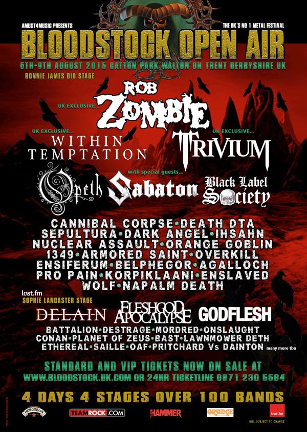 Bloodstock Festival 2015 Latest Line Up Poster Including Lawnmower Deth