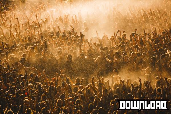 Download Festival 2015 - Slipknot's Crowd in the blinding rain. Credit Danny North