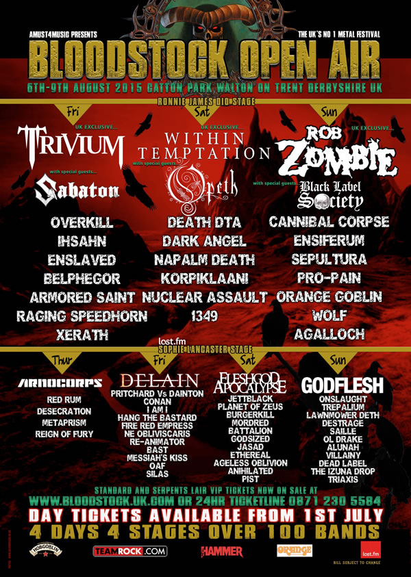 Bloodstock Open Air 2015 Festival Poster 2 main stages