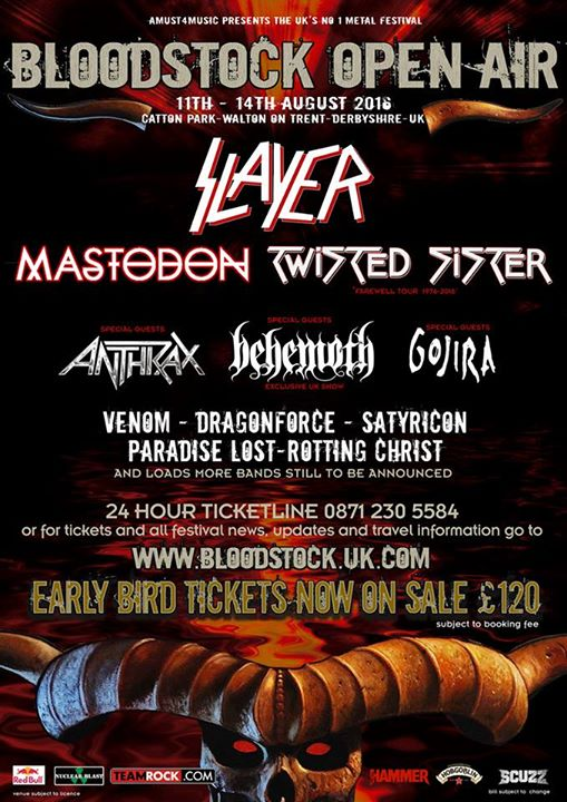 Bloodstock Open Air Festival 2016 All Headliners Slayer Poster