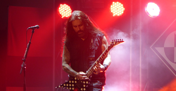 Machine Head's Phil Demmel on stage at  Norwich Open March 2016