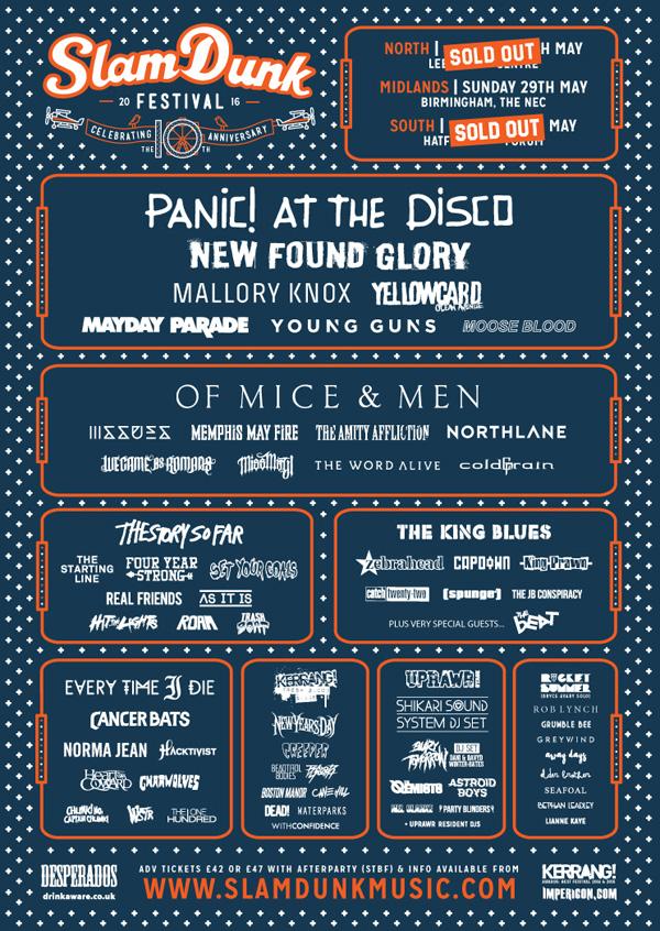Slam Dunk Festival 2016 Final Line Up Poster