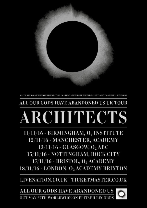 Architects November 2016 UK Headline Tour Poster