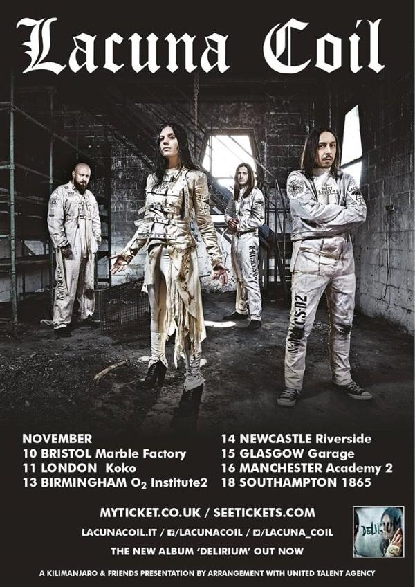 Lacuna Coil November 2016 UK Headline Tour Poster
