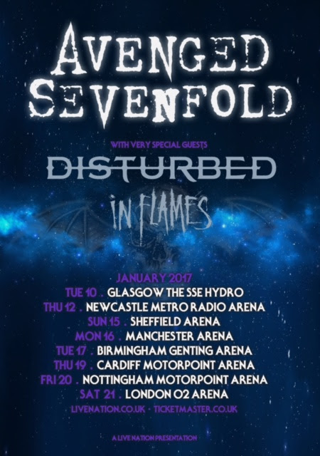 Avenged Sevenfold Disturbed In Flames 2017 UK Tour Poster