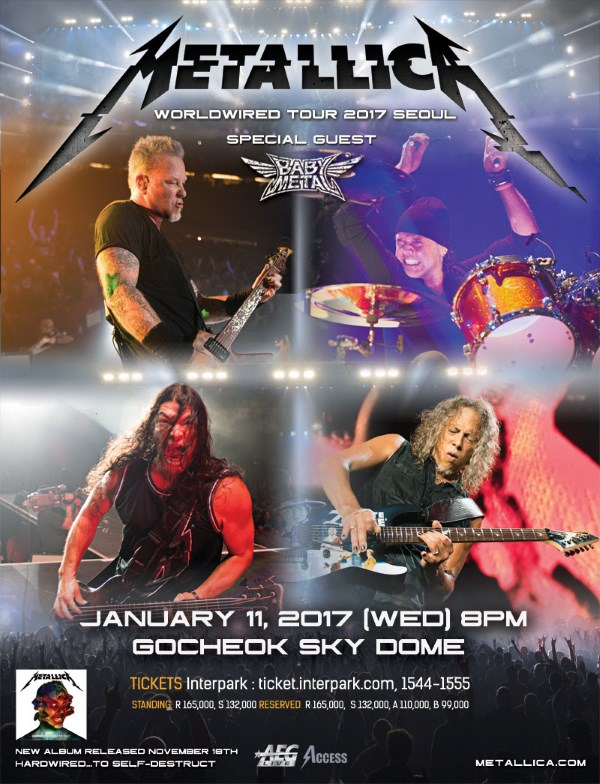 Metallica Babymetal Korea Show 2017 Poster