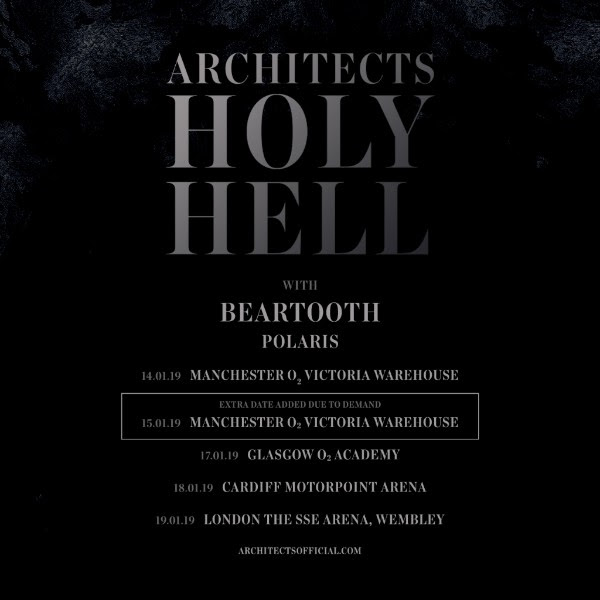 Architects 2019 UK Tour Poster Extra Manchester Show