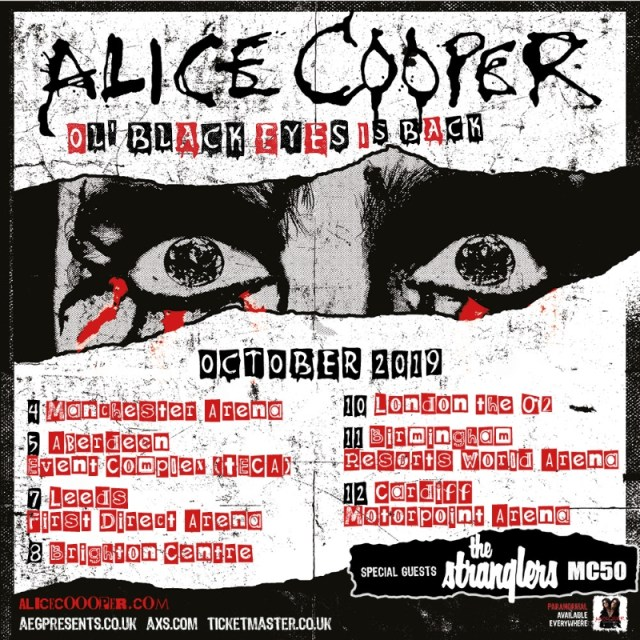 Alice Cooper Ol Black Eyes Is Back 2019 UK Tour Poster