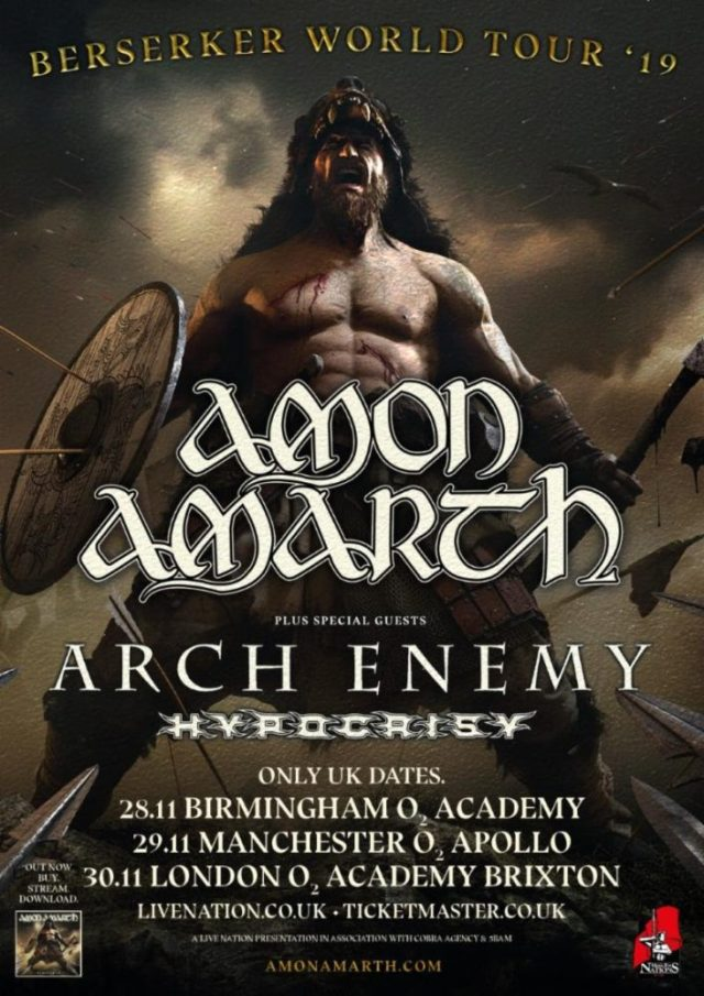 Amon Amarth Arch Enemy November 2019 UK Tour Poster