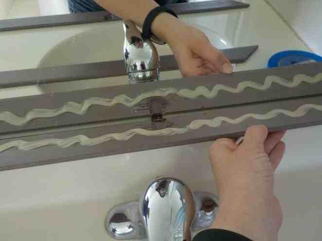 Bathroom Mirror Frame Install to builder grade mirror