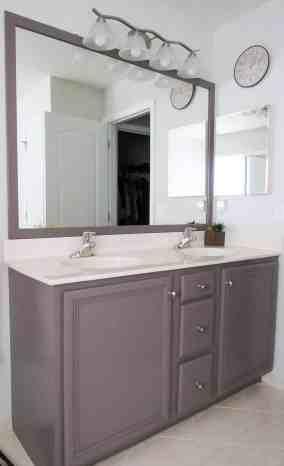 diy bathroom mirror frame, stick on frames for bathroom mirrors, mirror frame, frames for mirrors, builder grade mirror