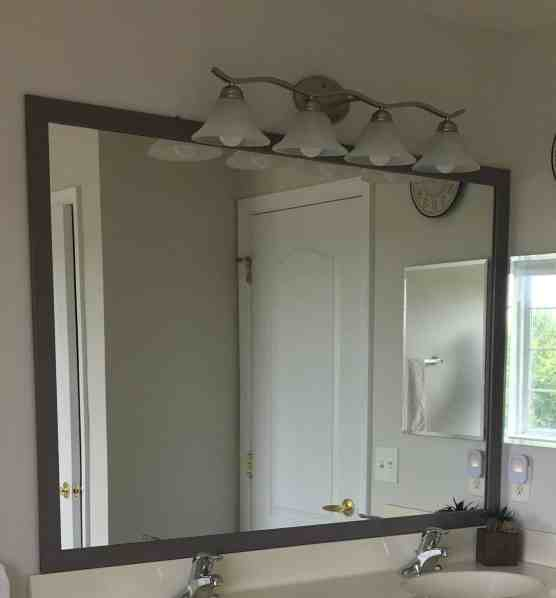 easy diy mirror frame, how to paint a vanity, best paint for vanity