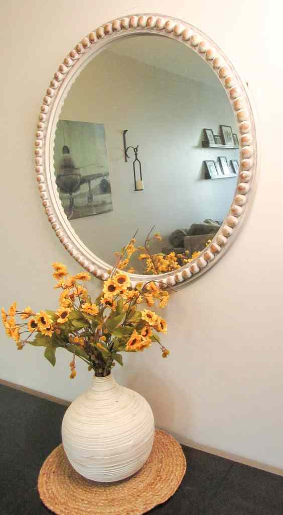 Beaded Mirror Kirklands, burnished clay behr paint