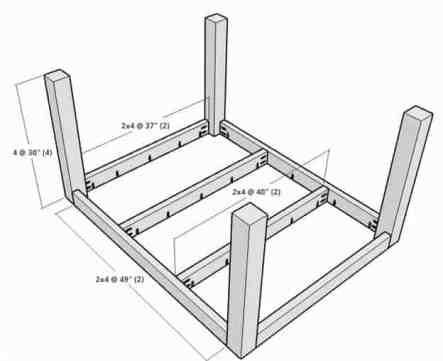 rustic wood kitchen table frame 3d model
