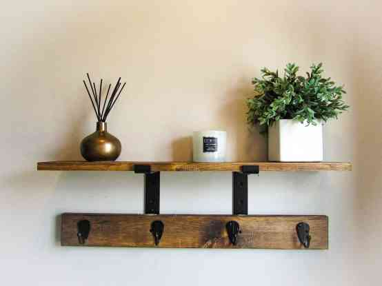 coat rack with shelf made from scrap wood