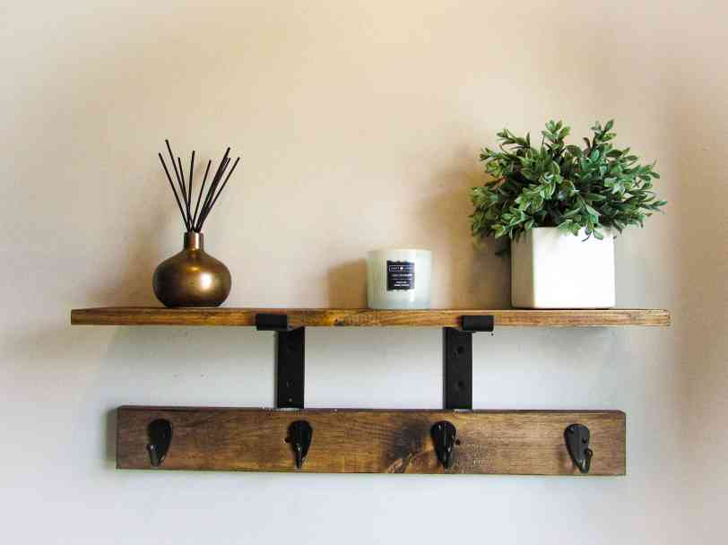 coat rack with shelf made from scrap wood, upcycled projects