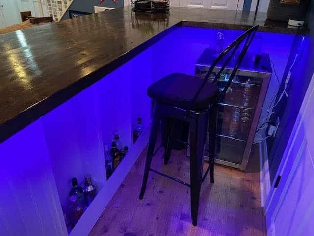 home bar shelving, lighted bar shelves, diy bar