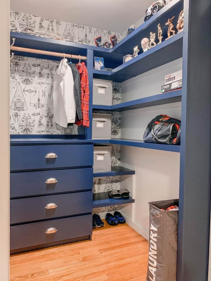 After closet with storage cubes