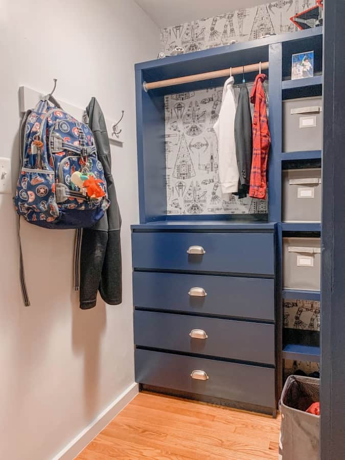 After closet with drawers and hooks