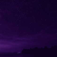 starry sky and seascape in the night