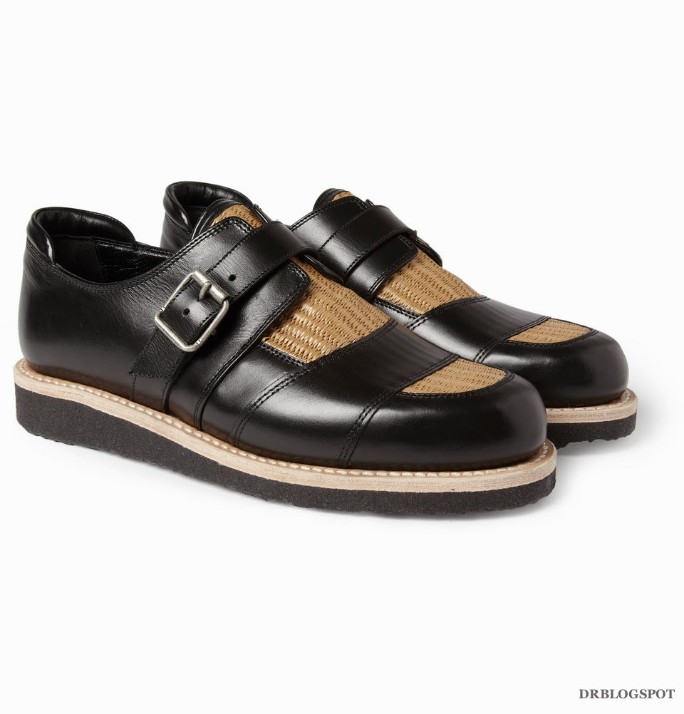 Le Meilleur Balmain Raffia Insert Leather Monk Strap Shoes – Second Ce Mois Ci