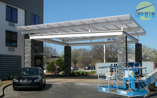 Le Meilleur Flat Roof Porte Cochere Installed On Existing Steel Subframe Ce Mois Ci