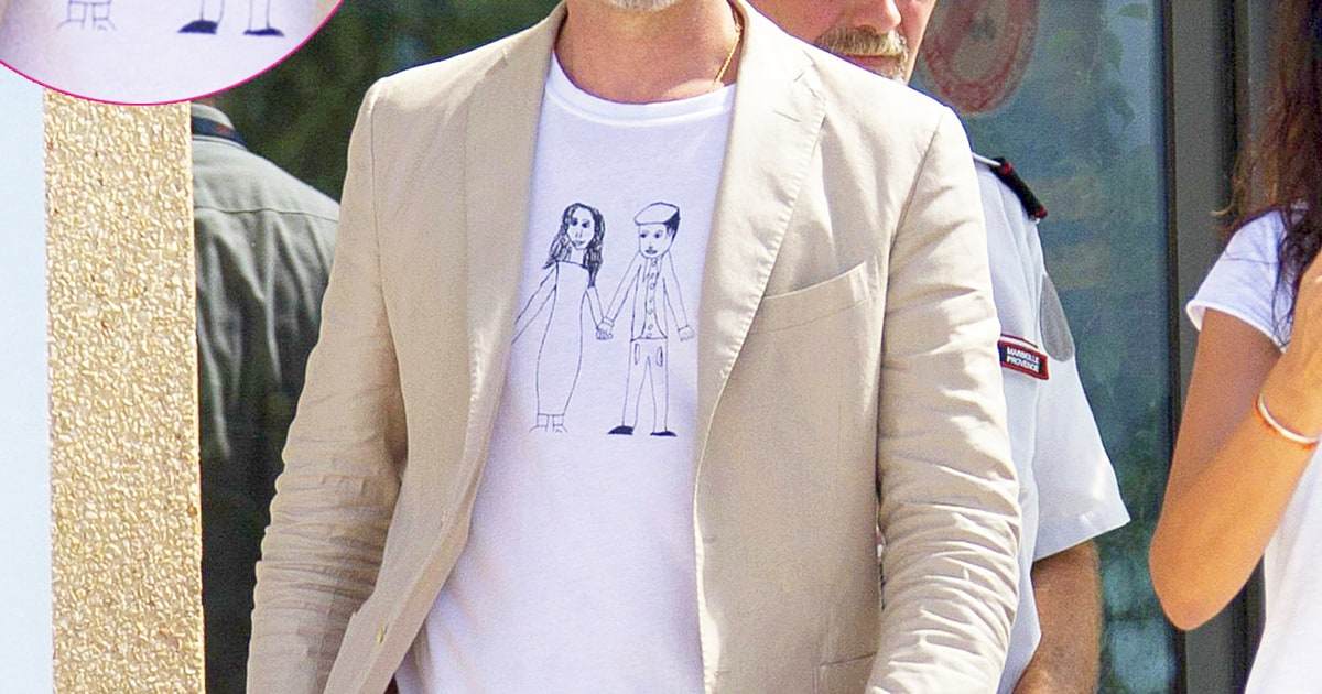 Le Meilleur Brad Pitt Wears T Shirt Sketch Of Angelina Jolie Drawn By Ce Mois Ci