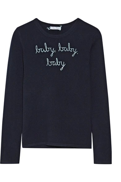 Le Meilleur Lingua Franca Baby Baby Baby Embroidered Cashmere Sweater Ce Mois Ci