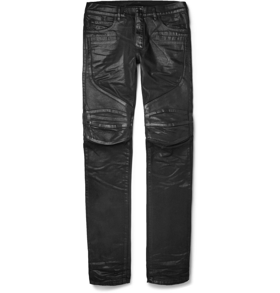 Le Meilleur Balmain Slim Fit Leather Panelled Coated Denim Biker Ce Mois Ci